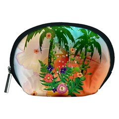 Tropical Design With Palm And Flowers Accessory Pouches (medium)