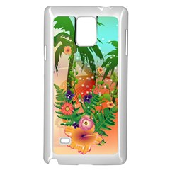 Tropical Design With Palm And Flowers Samsung Galaxy Note 4 Case (white) by FantasyWorld7