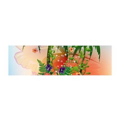 Tropical Design With Palm And Flowers Satin Scarf (oblong) by FantasyWorld7