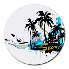 Surfing Round Mousepads by EnjoymentArt