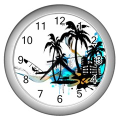 Surfing Wall Clocks (silver)  by EnjoymentArt