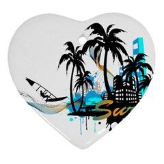 Surfing Heart Ornament (2 Sides) by EnjoymentArt