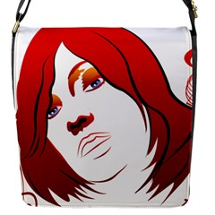 Women Face With Clef Flap Messenger Bag (s) by EnjoymentArt