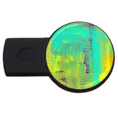 Abstract In Turquoise, Gold, And Copper Usb Flash Drive Round (4 Gb)  by digitaldivadesigns