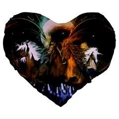 Wonderful Horses In The Universe Large 19  Premium Flano Heart Shape Cushions