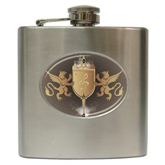 Music, Clef On A Shield With Liions And Water Splash Hip Flask (6 Oz) by FantasyWorld7