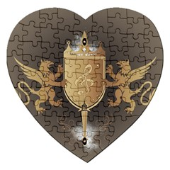 Music, Clef On A Shield With Liions And Water Splash Jigsaw Puzzle (heart) by FantasyWorld7
