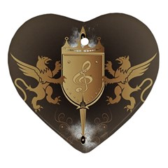 Music, Clef On A Shield With Liions And Water Splash Heart Ornament (2 Sides) by FantasyWorld7