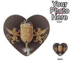 Music, Clef On A Shield With Liions And Water Splash Multi Purpose Cards (heart)  by FantasyWorld7