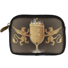 Music, Clef On A Shield With Liions And Water Splash Digital Camera Cases by FantasyWorld7