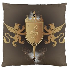 Music, Clef On A Shield With Liions And Water Splash Large Cushion Cases (two Sides)  by FantasyWorld7