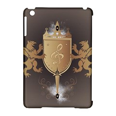 Music, Clef On A Shield With Liions And Water Splash Apple Ipad Mini Hardshell Case (compatible With Smart Cover) by FantasyWorld7