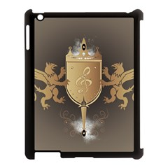 Music, Clef On A Shield With Liions And Water Splash Apple Ipad 3/4 Case (black) by FantasyWorld7