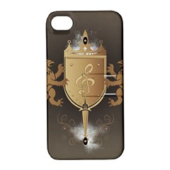 Music, Clef On A Shield With Liions And Water Splash Apple Iphone 4/4s Hardshell Case With Stand by FantasyWorld7