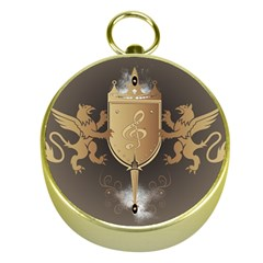 Music, Clef On A Shield With Liions And Water Splash Gold Compasses by FantasyWorld7