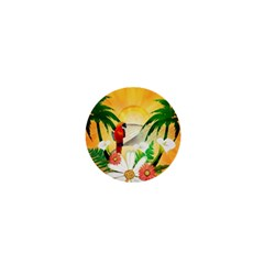 Cute Parrot With Flowers And Palm 1  Mini Magnets by FantasyWorld7