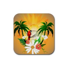 Cute Parrot With Flowers And Palm Rubber Square Coaster (4 Pack)  by FantasyWorld7