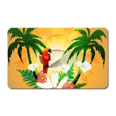 Cute Parrot With Flowers And Palm Magnet (rectangular) by FantasyWorld7