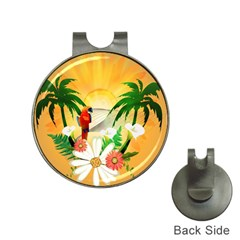Cute Parrot With Flowers And Palm Hat Clips With Golf Markers by FantasyWorld7