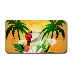 Cute Parrot With Flowers And Palm Medium Bar Mats by FantasyWorld7