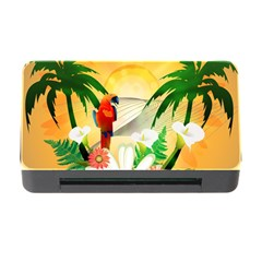 Cute Parrot With Flowers And Palm Memory Card Reader With Cf by FantasyWorld7