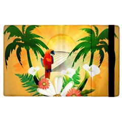 Cute Parrot With Flowers And Palm Apple Ipad 2 Flip Case by FantasyWorld7