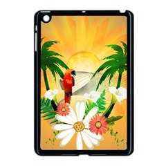 Cute Parrot With Flowers And Palm Apple Ipad Mini Case (black) by FantasyWorld7