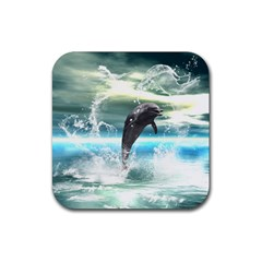Funny Dolphin Jumping By A Heart Made Of Water Rubber Square Coaster (4 Pack)  by FantasyWorld7