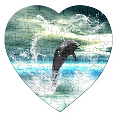 Funny Dolphin Jumping By A Heart Made Of Water Jigsaw Puzzle (heart) by FantasyWorld7