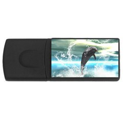 Funny Dolphin Jumping By A Heart Made Of Water Usb Flash Drive Rectangular (4 Gb)  by FantasyWorld7