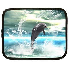 Funny Dolphin Jumping By A Heart Made Of Water Netbook Case (large)	 by FantasyWorld7