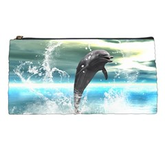 Funny Dolphin Jumping By A Heart Made Of Water Pencil Cases by FantasyWorld7
