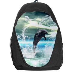 Funny Dolphin Jumping By A Heart Made Of Water Backpack Bag by FantasyWorld7