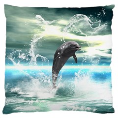 Funny Dolphin Jumping By A Heart Made Of Water Large Flano Cushion Cases (one Side)  by FantasyWorld7