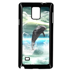 Funny Dolphin Jumping By A Heart Made Of Water Samsung Galaxy Note 4 Case (black) by FantasyWorld7