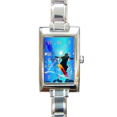 Snowboarding Rectangle Italian Charm Watches by FantasyWorld7