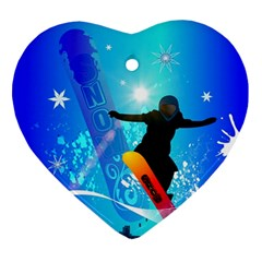Snowboarding Ornament (heart)  by FantasyWorld7
