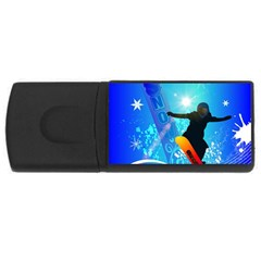 Snowboarding Usb Flash Drive Rectangular (4 Gb)  by FantasyWorld7