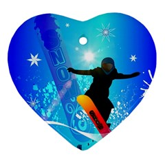 Snowboarding Heart Ornament (2 Sides) by FantasyWorld7