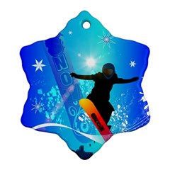 Snowboarding Snowflake Ornament (2 Side) by FantasyWorld7