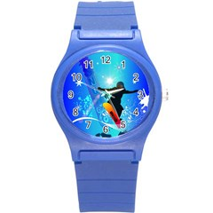 Snowboarding Round Plastic Sport Watch (s) by FantasyWorld7