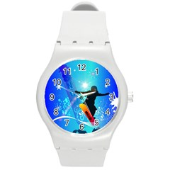 Snowboarding Round Plastic Sport Watch (m) by FantasyWorld7
