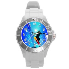 Snowboarding Round Plastic Sport Watch (l) by FantasyWorld7