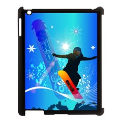 Snowboarding Apple Ipad 3/4 Case (black) by FantasyWorld7
