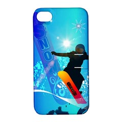 Snowboarding Apple Iphone 4/4s Hardshell Case With Stand by FantasyWorld7