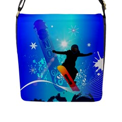 Snowboarding Flap Messenger Bag (l)  by FantasyWorld7