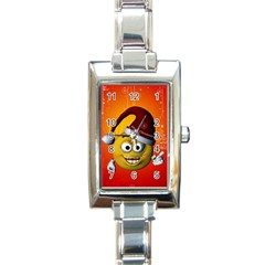 Cute Funny Christmas Smiley With Christmas Tree Rectangle Italian Charm Watches by FantasyWorld7