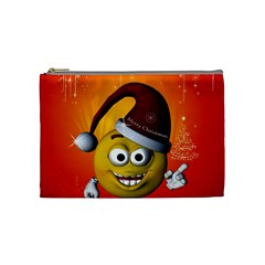 Cute Funny Christmas Smiley With Christmas Tree Cosmetic Bag (medium)  by FantasyWorld7