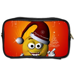 Cute Funny Christmas Smiley With Christmas Tree Toiletries Bags 2 Side by FantasyWorld7