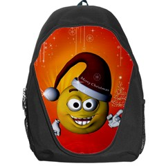 Cute Funny Christmas Smiley With Christmas Tree Backpack Bag by FantasyWorld7